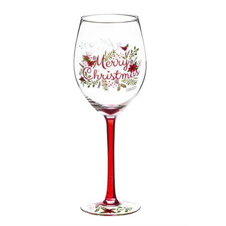 Wine Glass, 12 oz., Merry Christmas Wreath ()