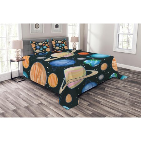 Galaxy Bedspread Set, Cute Galaxy Space Art Solar System Planets Mars Mercury Uranus Jupiter Venus Kids Print, Decorative Quilted Coverlet Set with Pillow Shams Included, Multi, by Ambesonne