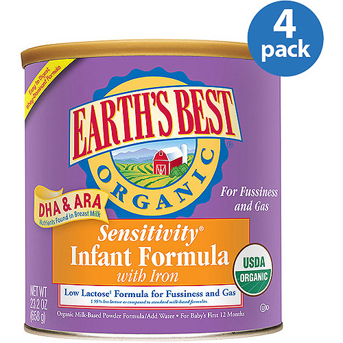 Earth's Best Organic Sensitivity Canned Powder Formula with Iron, 23.2 oz, (Pack of 4)