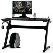 Gymax Gaming Desk Computer Studio Desk PC Table Z Shape Gamer Workstation w/Mousepad