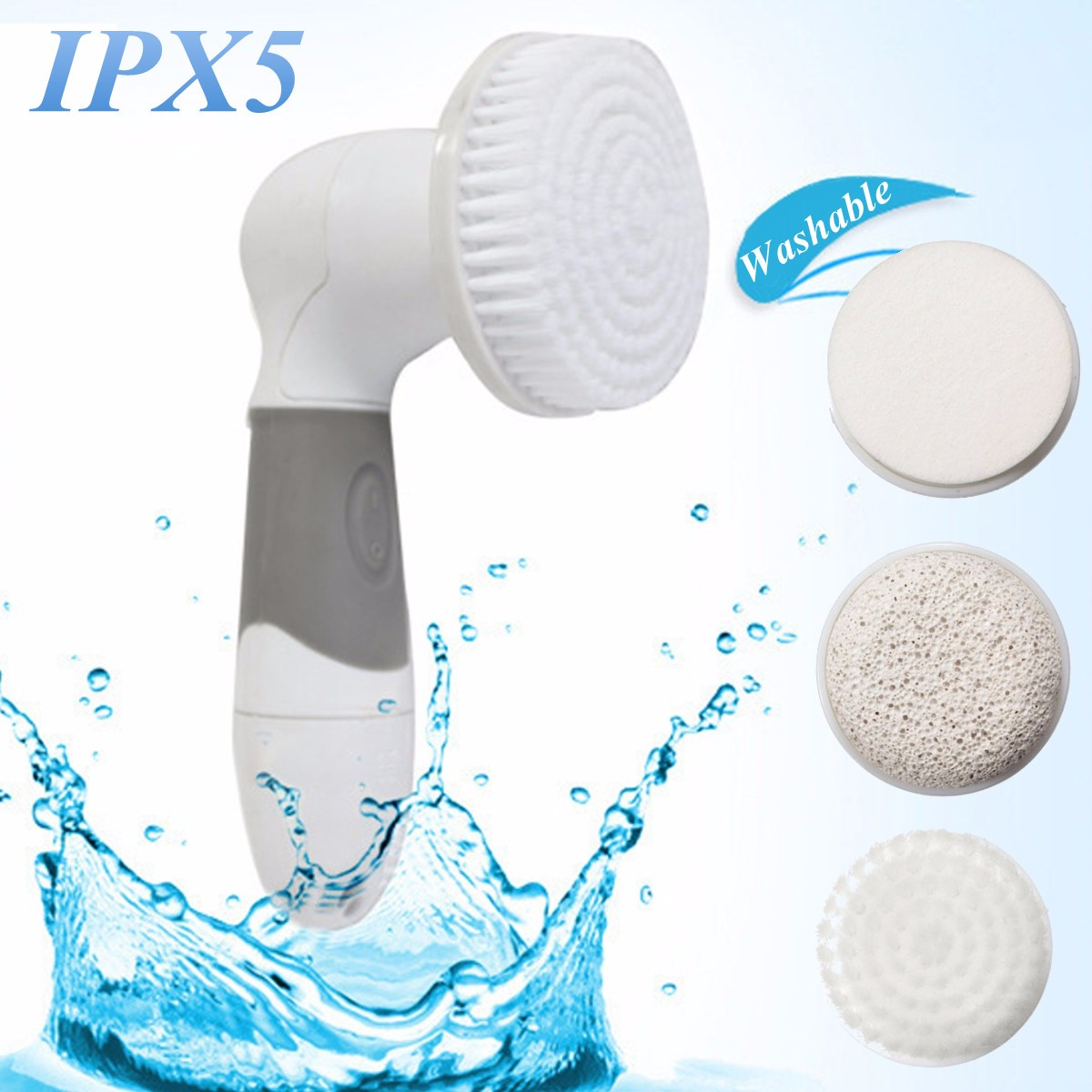 4in1 Electric Facial Cleaner Face Cleaning Skin Care Brush Massager Scrubber Dead Skin Remover Tool