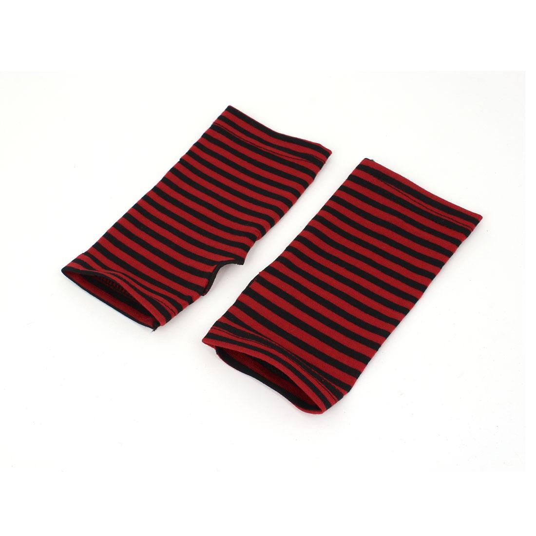 Women's Stripe Pattern Fingerless Design Fall Wear Arm Warmers Gloves Pair Red