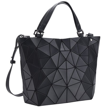 Women Tote Bag Handbag - PU Leather Shoulder Bag Geometric Diamond Lattice Ladies Crossbody Bag with Adjustable Handle And Large Storage, Black Ladies Black Handbag