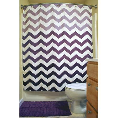Eggplant Chevron Shower Curtain