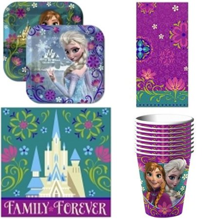 Disney Frozen Party Supplies Pack Including Plates, Cups, Napkins and Tablecover for 16 Guests - Sweet 16 Plates And Napkins