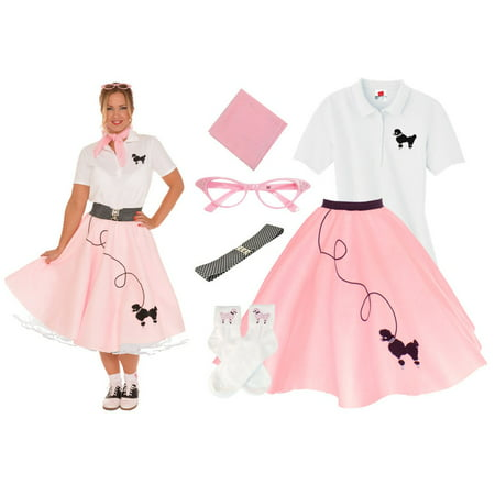50's Style Poodle Skirt - Adult 6 pc - 50's Poodle Skirt Outfit - Light Pink / Medium