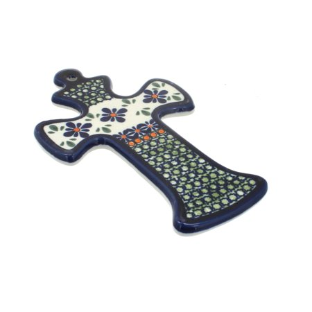Blue Rose Polish Pottery Mosaic Flower (Mosaic Rose Wall Cross)