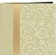 "Scroll Embroidery Fabric Post Bound Album 12""X12""-Ivory"