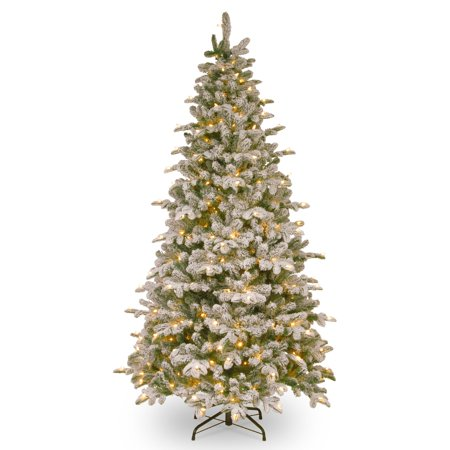 National Tree 7.5' Feel-Real Snowy Everest Fir Medium Hinged Tree with 450 Clear