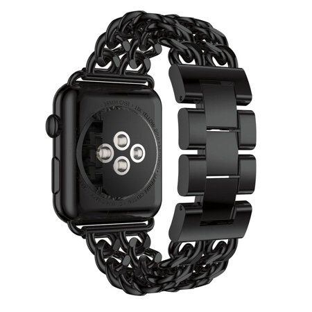 iPM Chain Link Stainless Steel Apple Watch Band With Removable Links - 38mm - Black