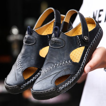 Mens Sports Sandals Summer Leather Outdoor Fisherman Sandal Breathable Walking Beach Sandals