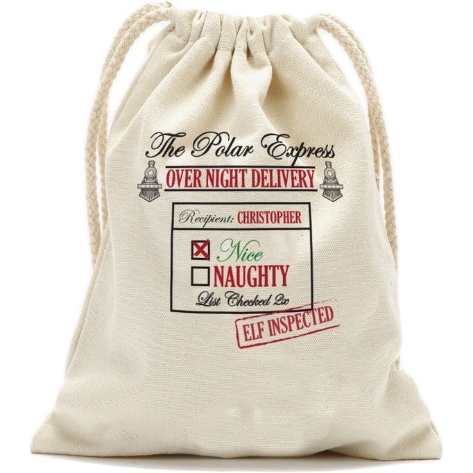 """The Polar Express Personalized Drawstring Sack, Small 13.3"""" x 18.75"""" or Large: 19"""" x 27.75"""""""