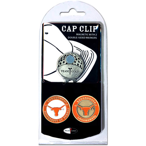 Team Golf NCAA Texas Cap Clip With 2 Golf Ball Markers