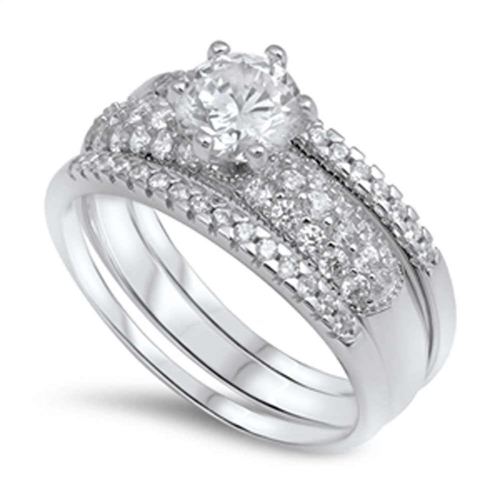 Solitaire Clear CZ Wedding Ring ( Sizes 5 6 7 8 9 10 ) Set New .925 Sterling Silver Band Rings by Sac Silver (Size 9)