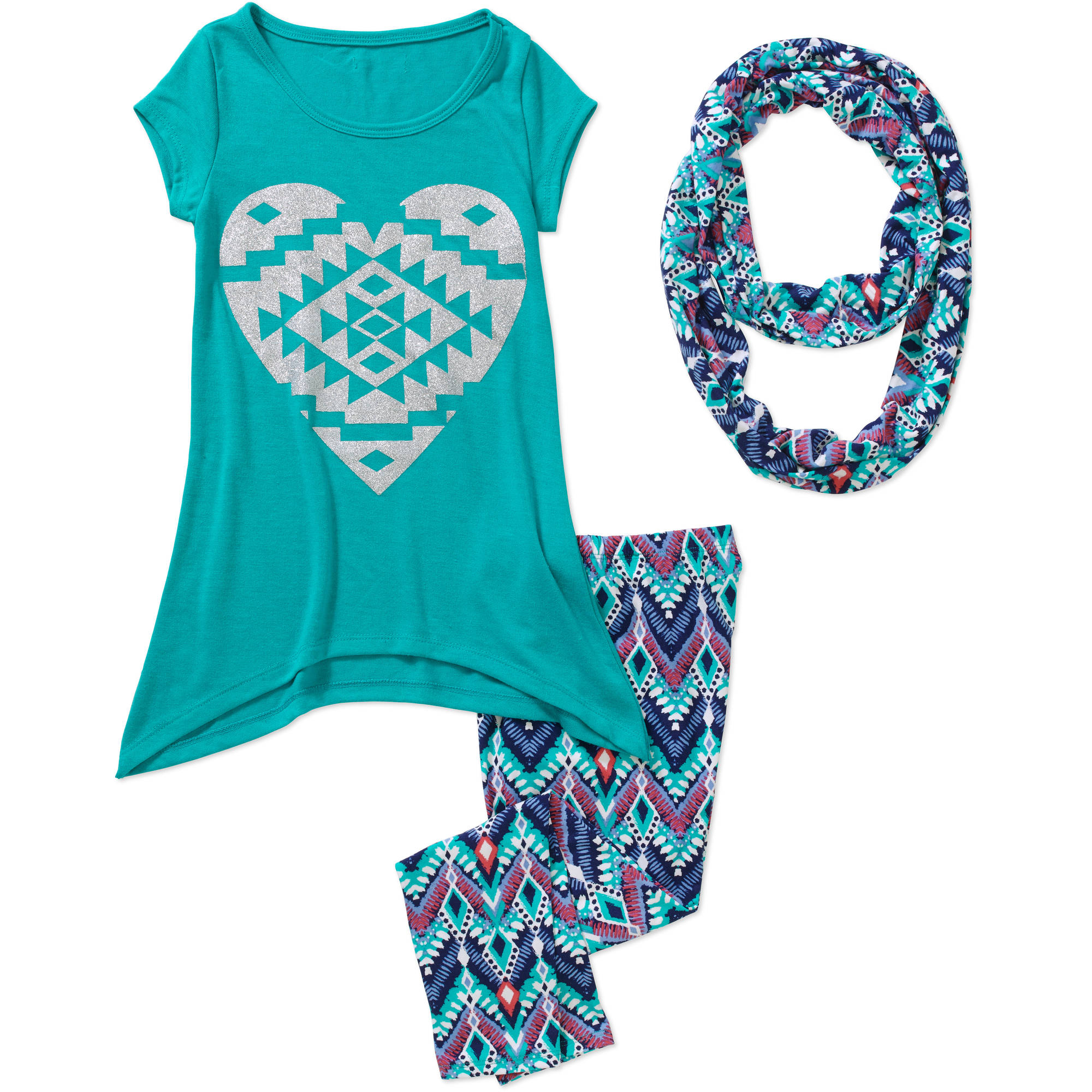 "One Step Up Girls' ""HACCI KNOCKOUT"" 3 Piece Hacci Short Sleeve Sharkbite Top, Printed Peached Leggings and Matching Infinity Scarf Set"