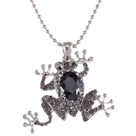 Frog Jewelry (Cute Crystal and Jet Rhinestone Frog Necklace Pendant )