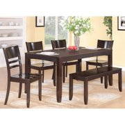 lyfd6 cap w 6 pc dining room table with bench table with leaf - Kitchen Bench With Table