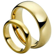 His & Hers 8MM/6MM Gold Plated Classic Dome Tungsten Carbide Wedding Band Ring Set