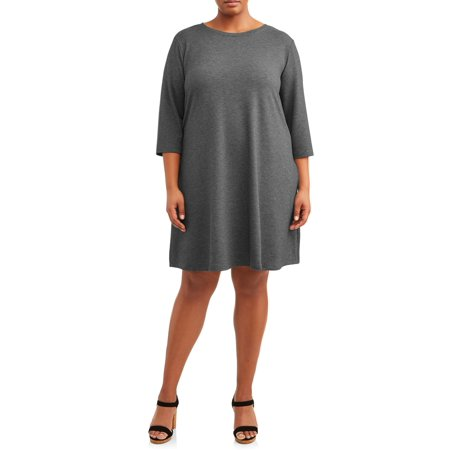 Women's Plus Size Long Sleeve Knit Dress with Tie - Plus Size Victorian Dresses