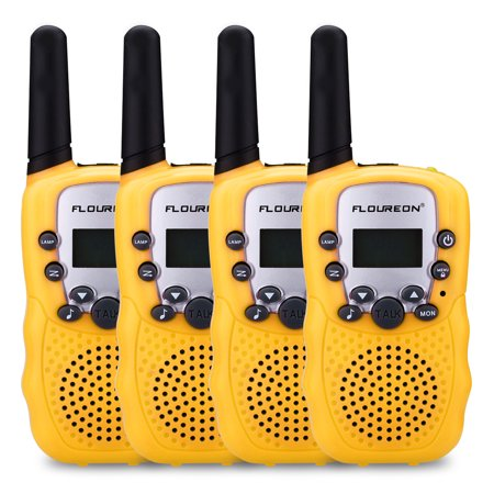 FLOUREON Walkie Talkies Two Way Radios 22 Channel 3000M (MAX 5000M open field) UHF Outdoor Long Range Handheld Talkies Talky for NERF Kids Adults 4Packs