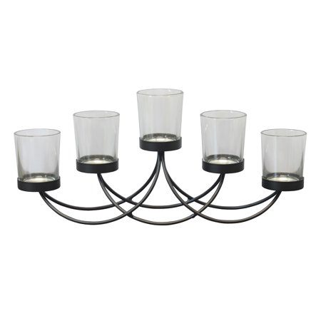 Scrolled Black Metal Votive Candelabra Centerpiece