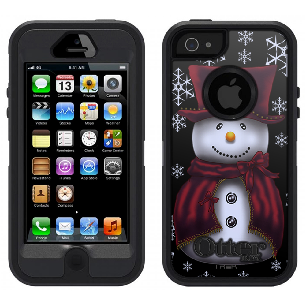 SKIN DECAL FOR OtterBox Defender Apple iPhone SE Case - Snowman in Red on Black DECAL, NOT A CASE