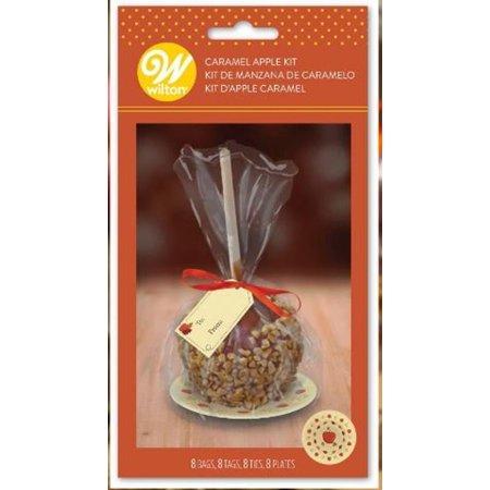Caramel Apple Bag Kit 8 Ct Bags, Tags, Ties, Plates - Halloween Caramel Apple Bites