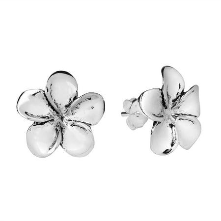 (Plumeria Flower 15 mm .925 Sterling Silver Post Earrings)