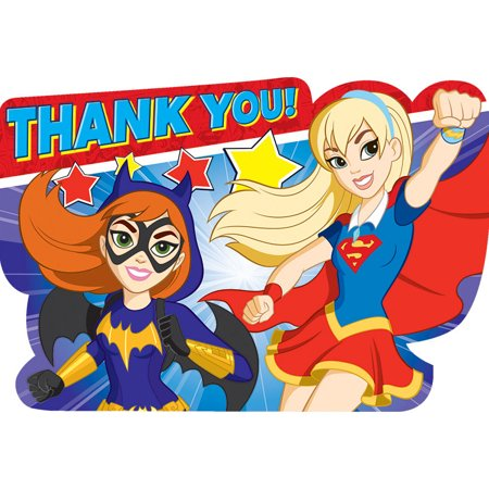 DC Super Hero Girls Postcard Thank You Notes (8 Count)](Superhero Thank You Cards)