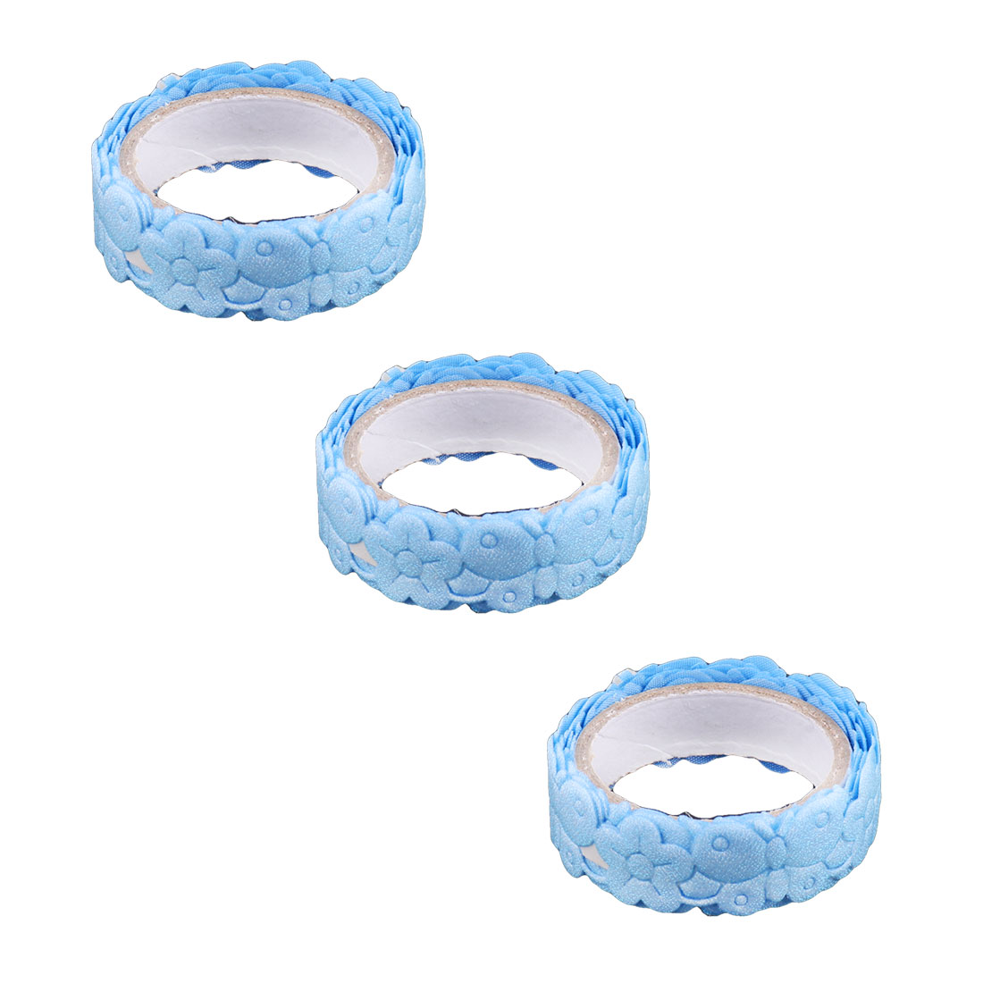 Home Fabric Butterfly Print Craft DIY Adhesive Washi Masking Tape Roll Blue 3pcs