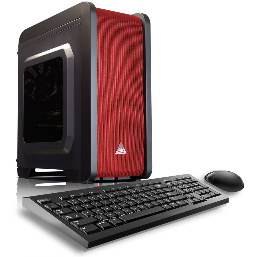 CybertronPC Red Electrum QS-A6 Desktop PC with AMD A6-7400K Processor, 16GB Memory, 1TB Hard Drive and Windows 10 Home (Monitor Not Included)