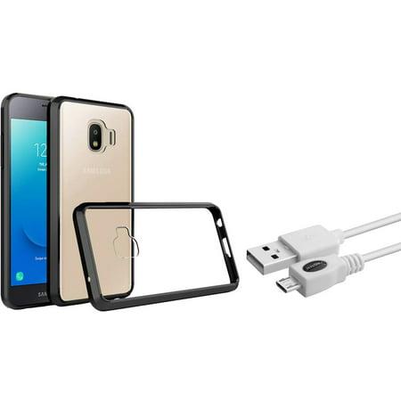 purchase cheap 0f7ae 2250f Insten Bumper PC/TPU Rubber Case Cover For Samsung Galaxy J2 (2019)/J2 Core  (J260) - Clear/Black (Bundle with Micro USB cable) - Walmart.com