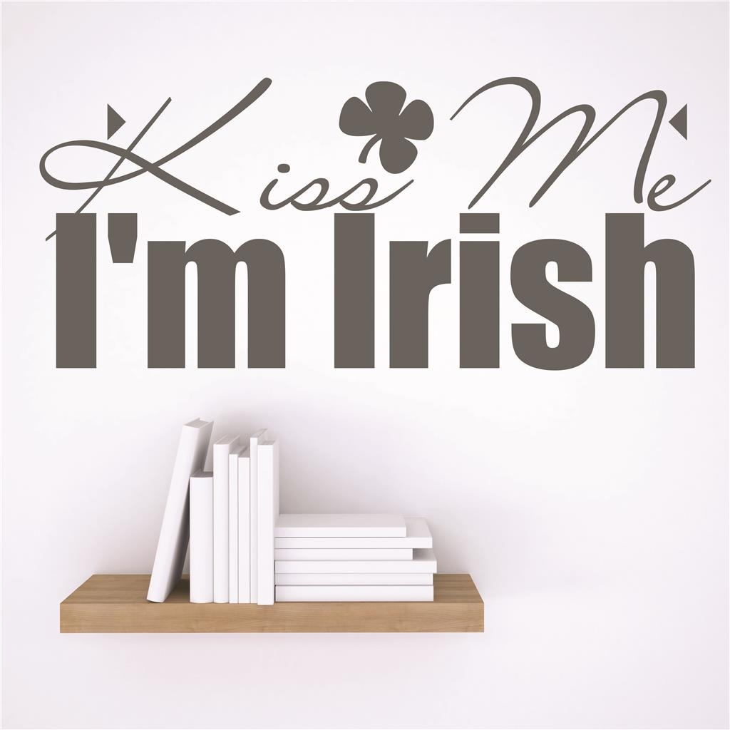 Custom Wall Decal Vinyl Sticker : Kiss Me I'm Irish St. Patrick's Day Holiday Decoration Quote 6x30 Inches