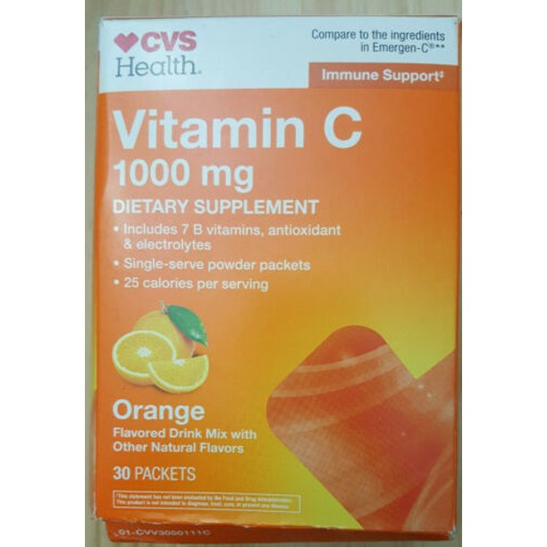 4 PACK CVS Vitamin C 1000mg Supplement 30 Packets Compare 2 Emergen-C exp 10/22