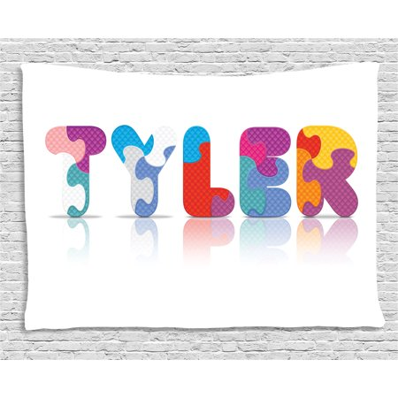Tyler Tapestry, Composition of Kindergarten Themed Colorful Letter Arrangement Newborn Children Name, Wall Hanging for Bedroom Living Room Dorm Decor, 80W X 60L Inches, Multicolor, by