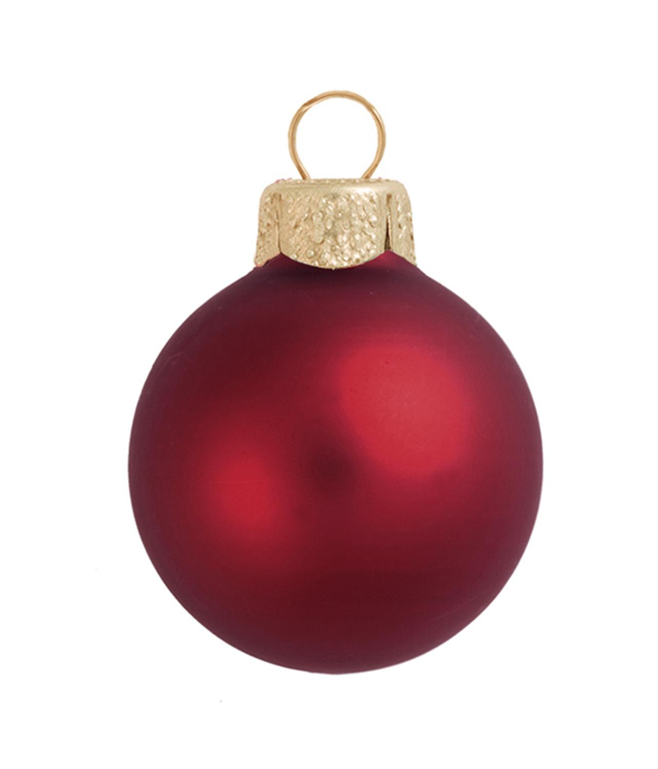 Red glass ball ornaments -  4ct Matte Burgundy Red Glass Ball Christmas Ornaments 4 75 120mm