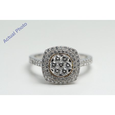 18k White Gold Round Six stone flower invisible setting in square diamond set frame ring (0.98 Ct, G , vs )