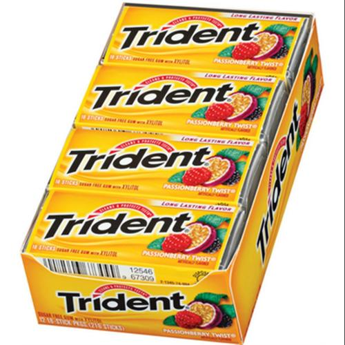 Trident Sugar Free Gum Passionberry Twist 12 pack (18 ct per pack) (Pack of 3)
