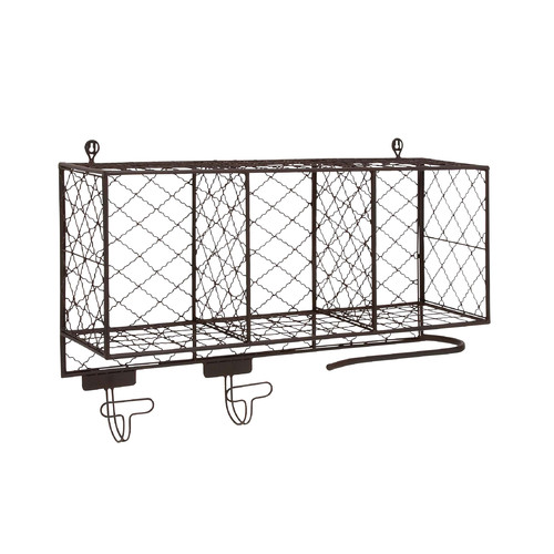 Woodland Imports Multipurpose Metal Shelf with Hooks