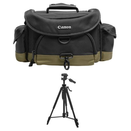 Canon 10EG Digital SLR Camera Case Gadget Bag + Deluxe Tripod for EOS 6D, 70D, 7D, 5DS, 5D Mark II III, Rebel T3, T3i, T5, T5i, T6i, T6s, SL1