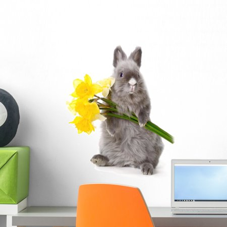 Bunny with Yellow Flowers Wall Decal by Wallmonkeys Peel and Stick Graphic (18 in H x 12 in W) WM315055