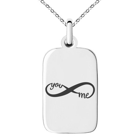 Dog Charm Necklace (Stainless Steel You and Me Infinity Engraved Small Rectangle Dog Tag Charm Pendant Necklace)