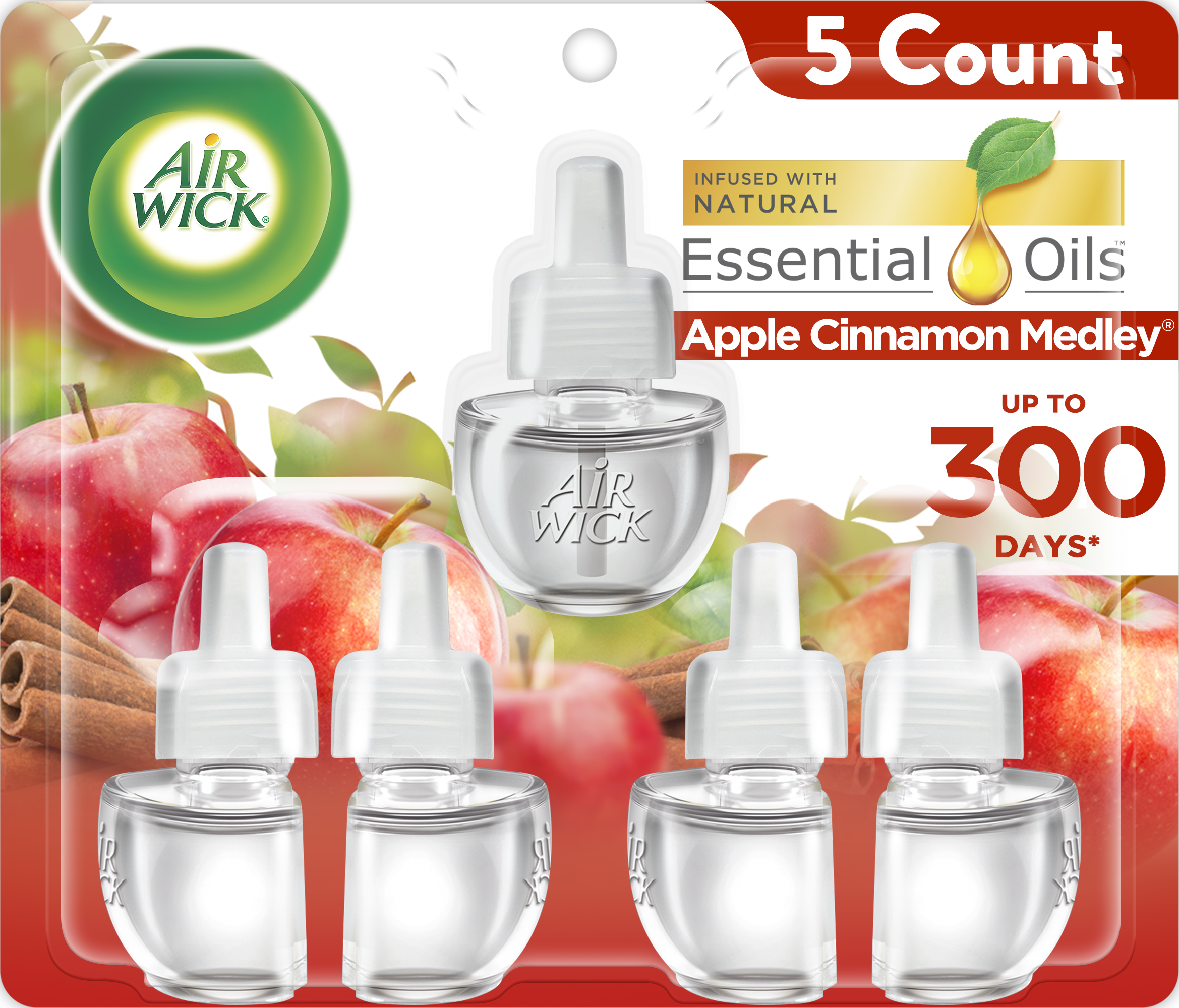 Air Wick Plug In Scented Oil Refill 5 Ct Apple Cinnamon Medley Air Freshener Essential Oils Fall Scent Fall Decor Walmart Com Walmart Com