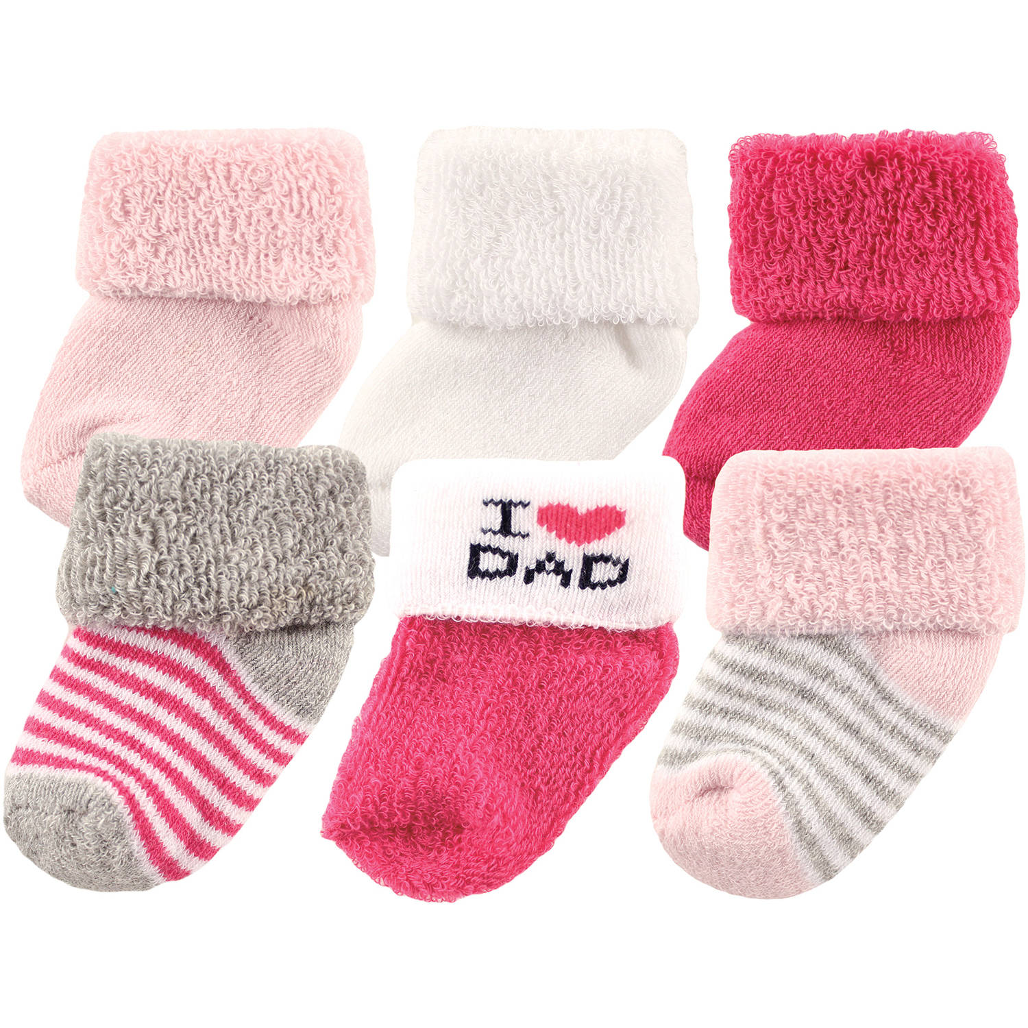 Luvable Friends Newborn Baby Girl Socks 6-Pack