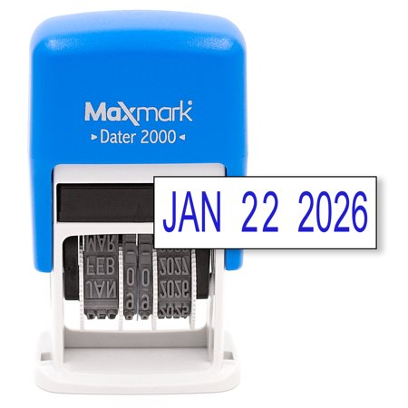 MaxMark Dater 2000, Self Inking Date Stamp with Blue Ink