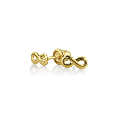 Tiny Minimalist Infinity Symbol Stud Earrings For Women For Teen Girlfriend Real 14K Yellow Gold Screwback ()