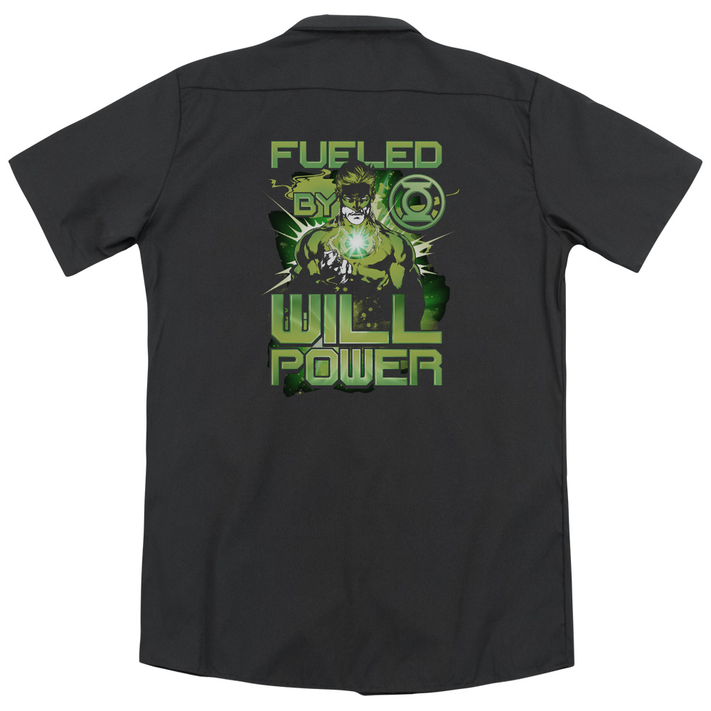 Green Lantern Fueled (Back Print) Mens Work Shirt