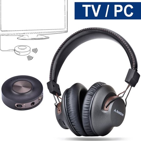 Rca Wireless Headphones Tv (Avantree Wireless Headphones for TV Watching with Bluetooth Transmitter, Plug & Play, No Delay, 100ft LONG RANGE, 40 Hours Battery, Support RCA, 3.5mm AUX, USB Audio (NO OPTICAL) PC Game)