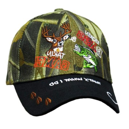Wildbill's Black and Camo Combo Kickin Bass and Takin Game Trout and Deer Embroidered Baseball (Best Deer Hunting Accessories)