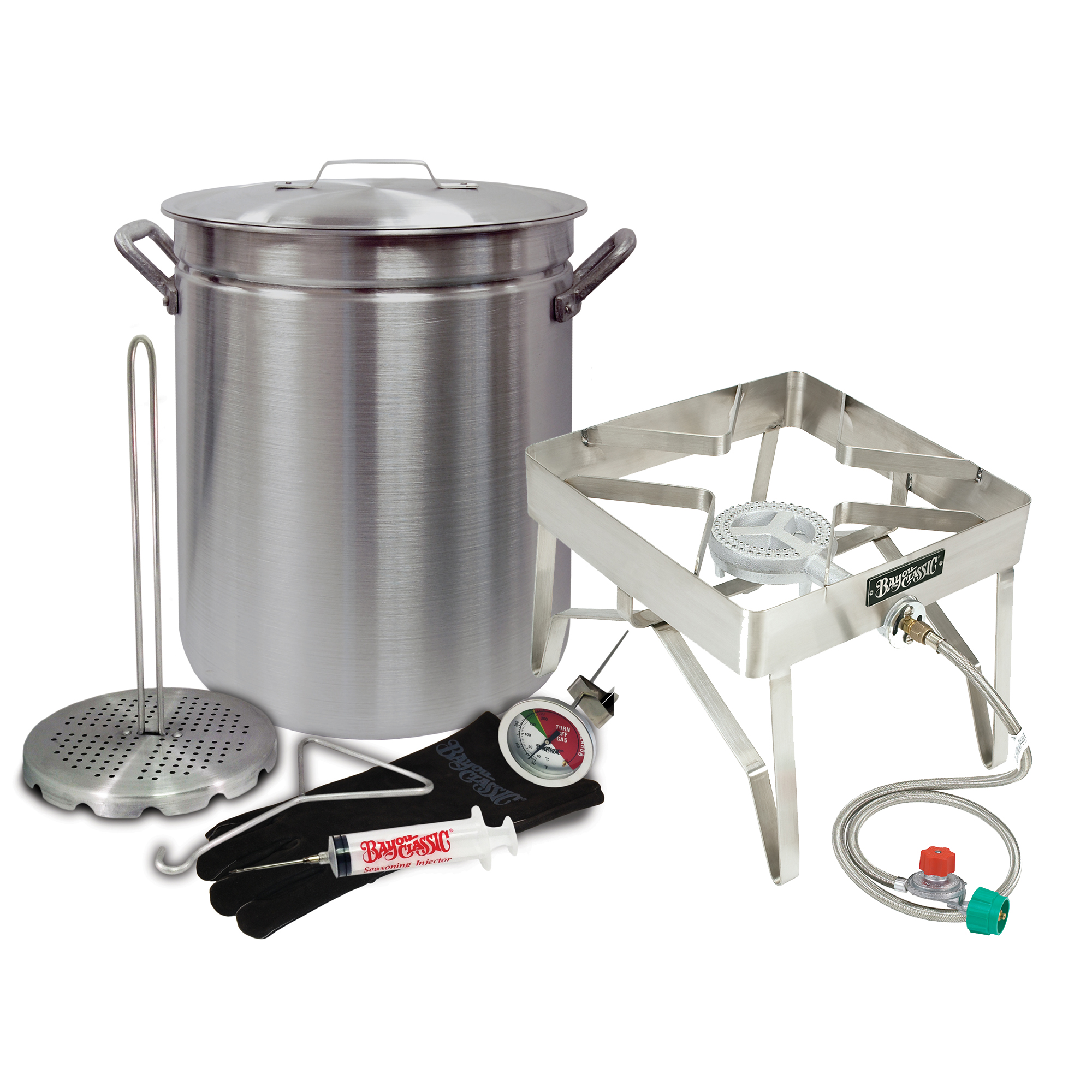 "Bayou Classic Deep Fryer ""GRAND GOBBLER"" Turkey Kit for Oversized Birds (25+ LBS Turkeys) 42-Quart Aluminum Stockpot and Stainless Steel Burner Stand"